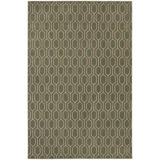 Geometric Lattice Heathered Grey/ Ivory Area Rug (5'3 x 7'6)