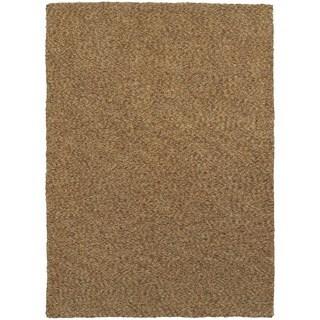 Cozy Indulgence Heathered Gold Shag Area Rug (5' x 7')
