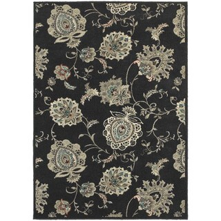 Global Influence Floral Midnight/ Ivory Area Rug (5'3 x 7'6)