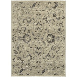 Global Influence Floral Traditional Beige/ Grey Area Rug (5'3 x 7'6)