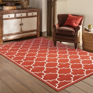 Scalloped Lattice Red/ Ivory Indoor Outdoor Area Rug (5'3 x 7'6)