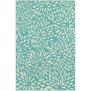 Floral Splash Blue-green/ Ivory Indoor Outdoor Area Rug (5'3 x 7'6)
