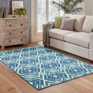 Diamond Ikat Navy/ Green Indoor Outdoor Area Rug (5'3 x 7'6)