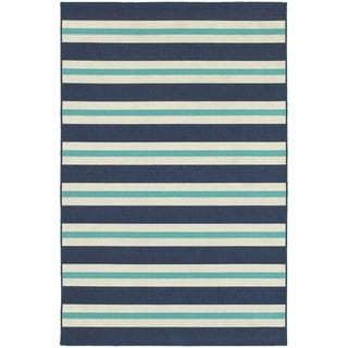 Multi Striped Blue/ Ivory Indoor Outdoor Area Rug (5'3 x 7'6)