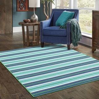Feeling the Blues Striped Blue/ Green Indoor Outdoor Area Rug (5'3 x 7'6)