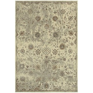 Distressed Traditional Floral Beige/ Grey Area Rug (5'3 x 7'6)