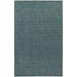 Handwoven Wool Heathered Blue Area Rug (6' x 9')