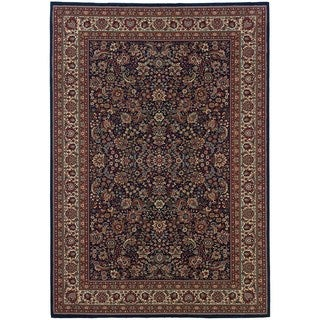 Updated Old World Persian Flair Blue/ Red Area Rug (6'7 x 9'6)
