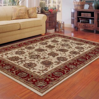Updated Old World Persian Flair Ivory/ Red Area Rug (6'7 x 9'6)