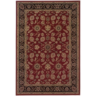 Updated Old World Persian Flair Red/ Black Area Rug (6'7 x 9'6)