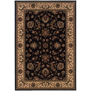 Updated Old World Persian Flair Black/ Ivory Area Rug (6'7 x 9'6)