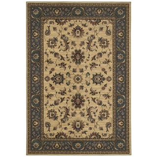 Updated Old World Persian Flair Ivory/ Blue Area Rug (6'7 x 9'6)