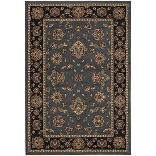 Updated Old World Persian Flair Blue/ Black Area Rug (6'7 x 9'6)