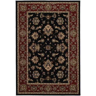 Updated Old World Persian Flair Black/ Red Area Rug (6'7 x 9'6)