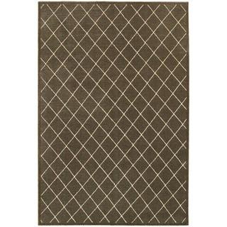 Diamond Trellis Heathered Brown/ Ivory Area Rug (6'7 x 9'6)