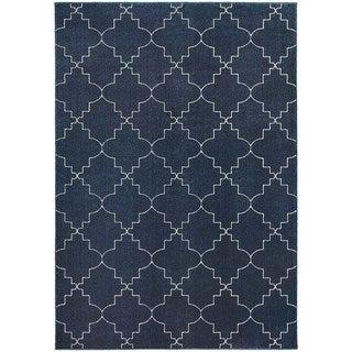 Scalloped Lattice Heathered Navy/ Ivory Area Rug (6'7 x 9'6)