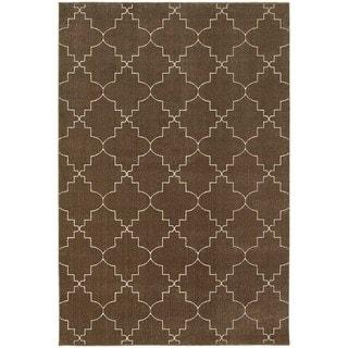 Scalloped Lattice Heathered Brown/ Ivory Area Rug (6'7 x 9'6)