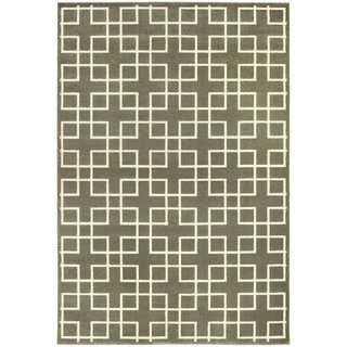 Geometric Trellis Heathered Grey/ Ivory Area Rug (6'7 x 9'6)