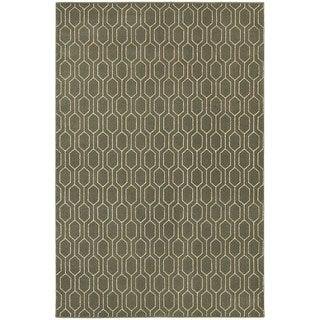 Geometric Lattice Heathered Grey/ Ivory Area Rug (6'7 x 9'6)