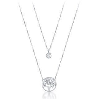 La Preciosa Sterling Silver Double Strand Cubic Zirconia Circle and Tree of Life Necklace