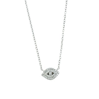 Rhodium-plated Sterling Silver Cubic Zirconia Evil Eye Adjustable Necklace