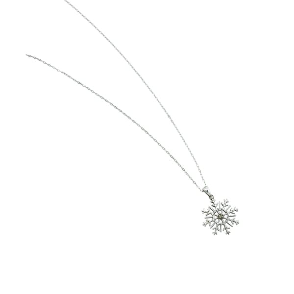 Rhodium-plated Sterling Silver Cubic Zirconia Accent Snowflake Pendant Necklace