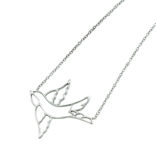 Rhodium-plated Sterling Silver Polished Open Sparrow Adjustable Necklace