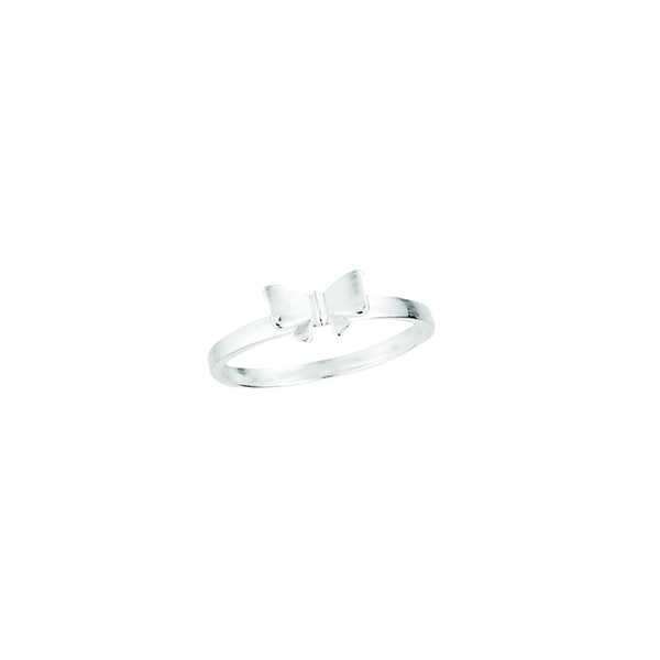 Rhodium-plated Sterling Silver Polished Bow Design Midi Ring