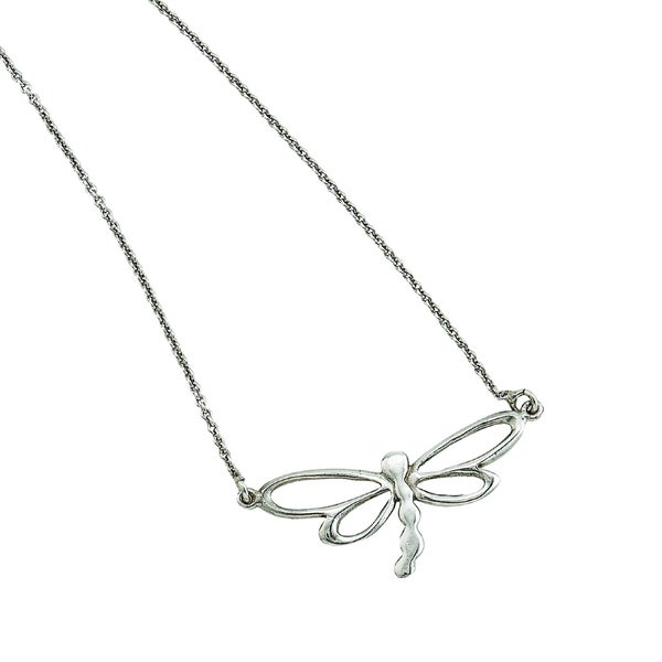 Rhodium-plated Sterling Silver Italian Polished Open Dragonfly Design Adjustable Necklace