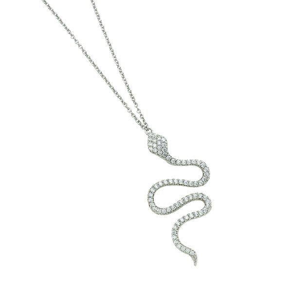 Rhodium-plated Sterling Silver Cubic Zirconia Snake Adjustable Necklace