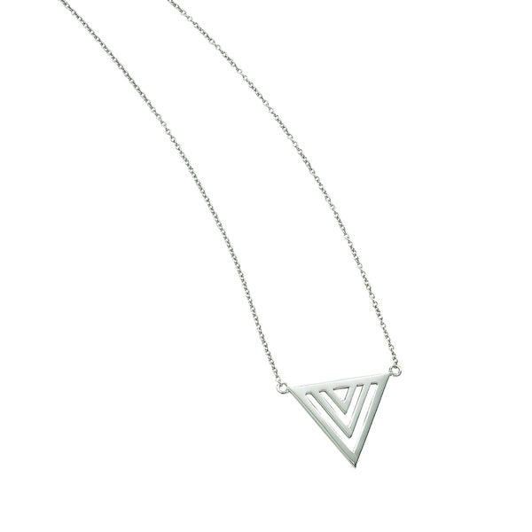 Rhodium-plated Sterling Silver Polished Geometric Triangle Adjustable Necklace