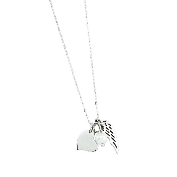 Rhodium-plated Sterling Silver 3 Charm Angel Wing Theme Necklace