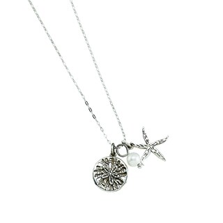 Rhodium-plated Sterling Silver 3 Charm Seashore Theme Necklace