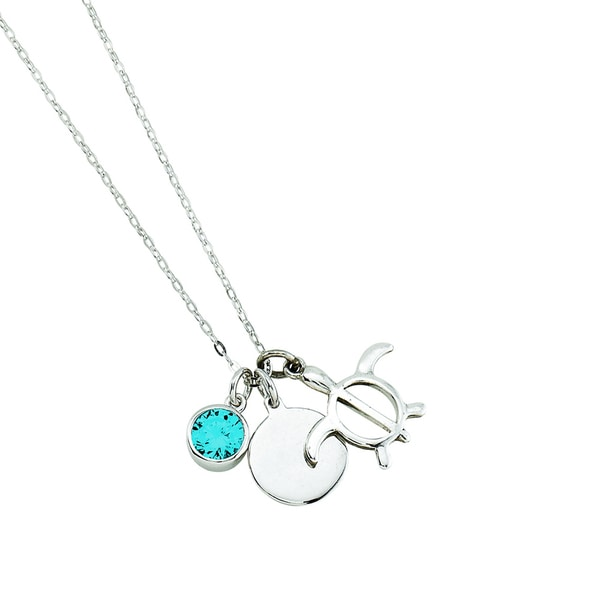 Rhodium-plated Sterling Silver 3 Charm Turtle Theme Necklace