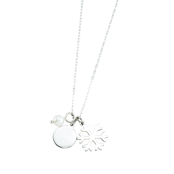Rhodium-plated Sterling Silver 3 Charm Snowflake Theme Necklace
