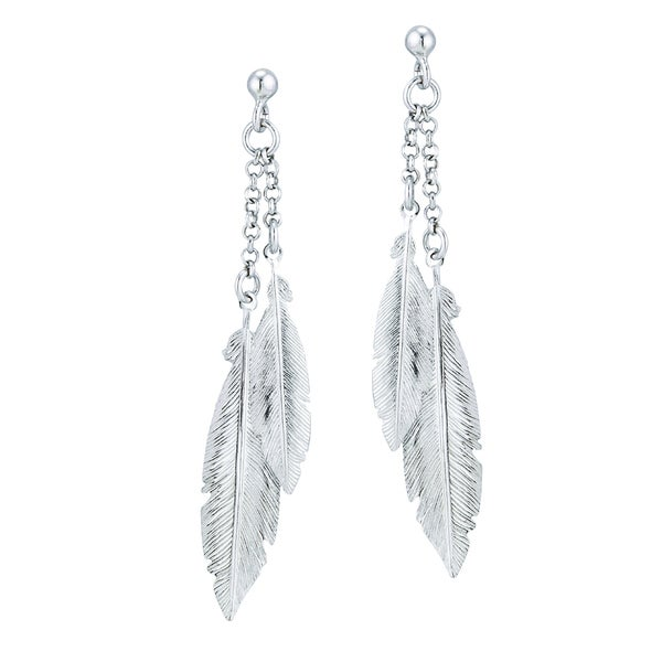 Rhodium-plated Sterling Silver Italian Dangling Feathers Post Earring