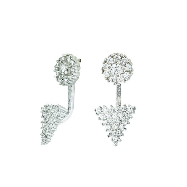 Rhodium-plated Sterling Silver Cubic Zirconia Back/ Front Style Geometric Post Earring