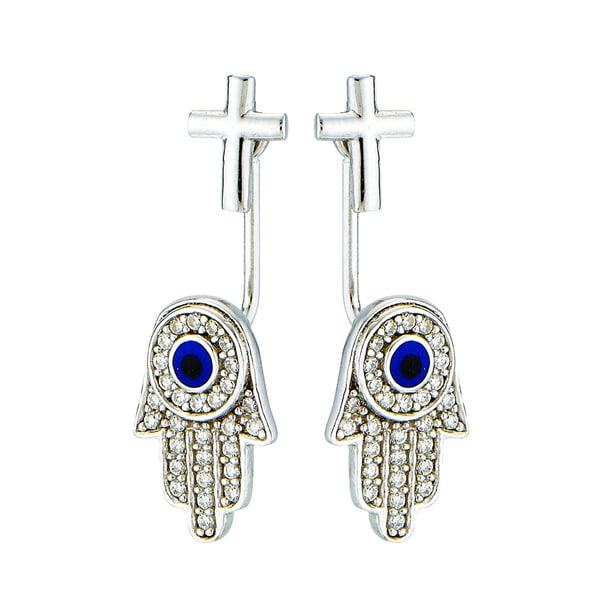 Rhodium-plated Sterling Silver Cubic Zirconia Back/ Front Style Cross and Hamsa Post Earring