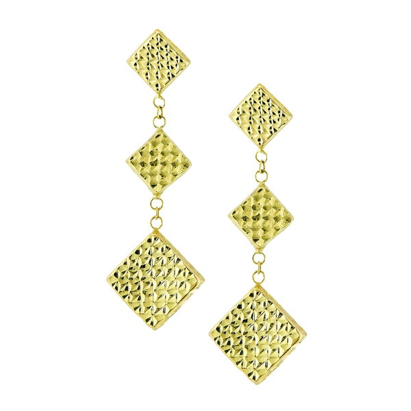 14k Yellow Gold Diamond-cut Triple Marquee Dangle Earring