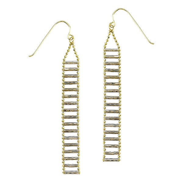 14k Two-tone Diamond-cut Bead Ladder Bar Dangle Earring