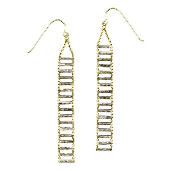 14k Two-tone Diamond-cut Bead Ladder Bar Dangle Earring