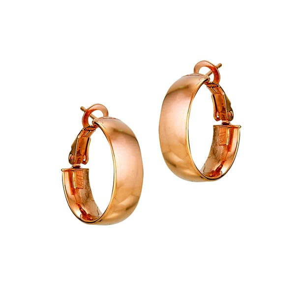 14k Italian Rose Gold Polished Wedding Band Hoop Earrings