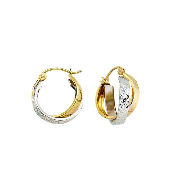 14k Two-tone Polished Diamond-cut Double Bypass Hoop Earring