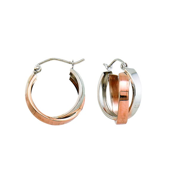14k Two-tone Polished Double Bypass Hoop Earring
