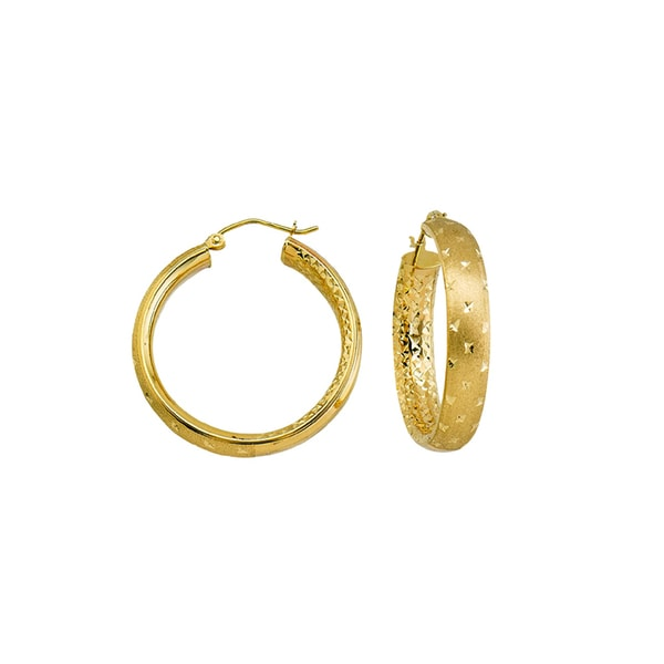14k Yellow Gold Satin and Diamond-cut Twinkle Hoop Earrings