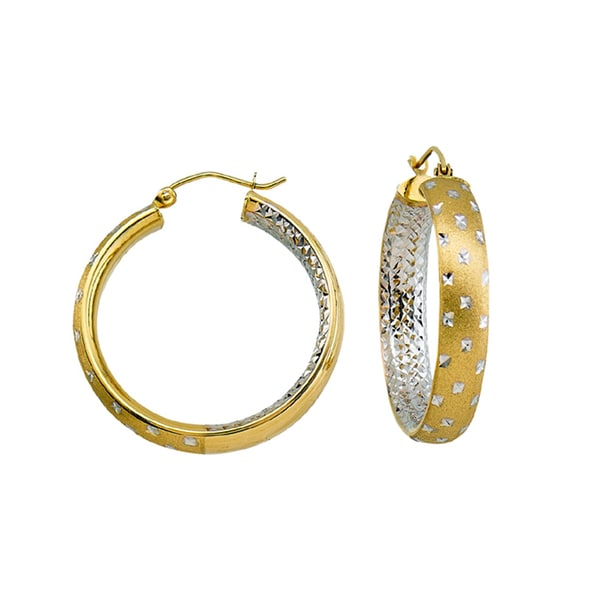14k Two-tone Satin and Diamond-cut Twinkle Hoop Earrings