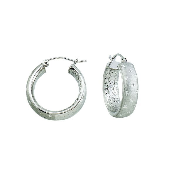14k White Gold Satin and Diamond-cut Twinkle Hoop Earrings
