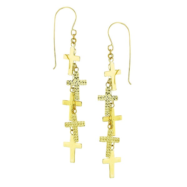 14k Yellow Gold Polished Diamond-cut Dangling Multi Cross Earring
