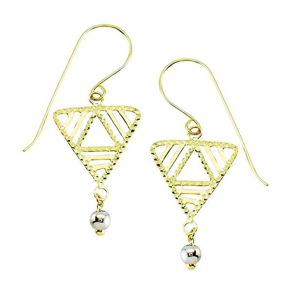 14k Two-tone Diamond-cut Geometic Triangle Dangle Earring