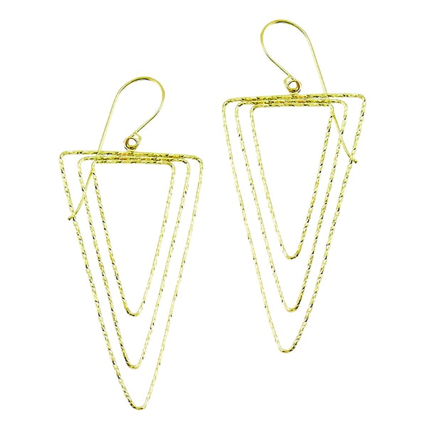 14k Yellow Gold Faceted Triple Geometic Wire Dangle Earring